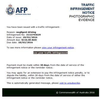 AFP Traffic Infringement Notice
