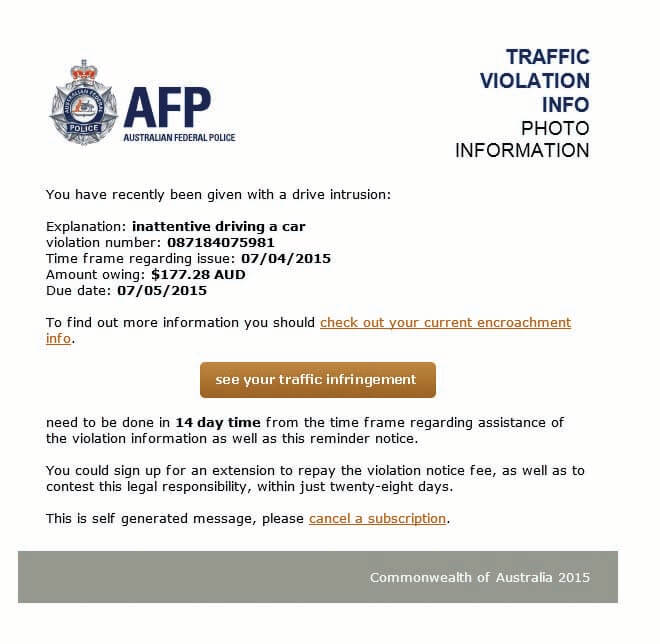 Driving Infringement scam email