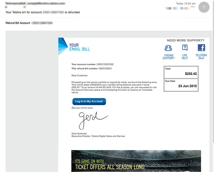 Fake Emails Claiming to be from Telstra